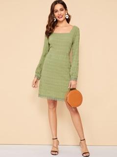 70s Square Neck Lace Cuff & Hem Crinkle Dress