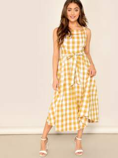Square Neck Belted Plaid Dress