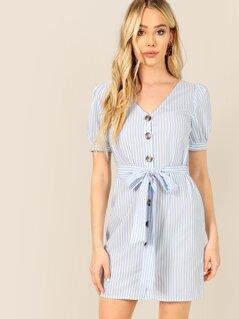 Button Through Vertical Striped Belted Tea Dress
