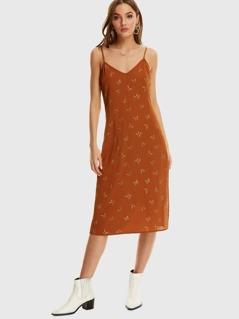 Butterfly Print Split Cami Dress