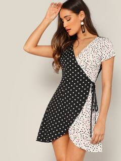 Spliced Polka Dot Self Tie Wrap Dress