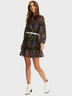 Floral Print Bishop Sleeve Ruffle Dress Without Belt