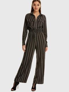 Zip & Pocket Front Elastic Waist Stripe Jumpsuit