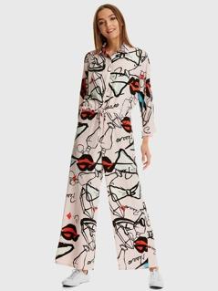 Drawstring Waist Graffiti Print Wide Leg Shirt Jumpsuit