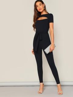 Cutout Front Rib-knit Skinny Jumpsuit