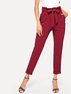 Paperbag Waist Textured Pants With Belt