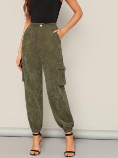 Flap Pocket Side Elastic Hem Corduroy Pants