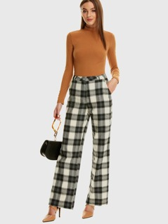 Slant Pocket Plaid Wide Leg Pants
