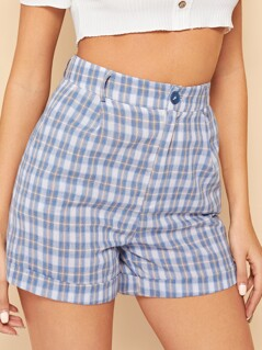 90s Cuffed Hem Plaid Shorts