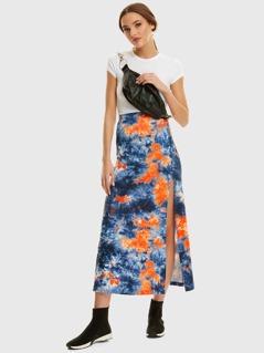 High Waist Tie Dye Split Skirt