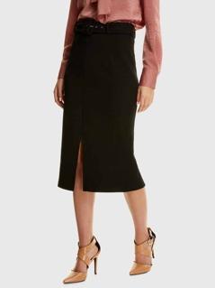 Waist Belted Split Skirt