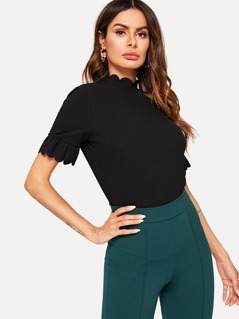 Scallop Trim Bell Sleeve Top