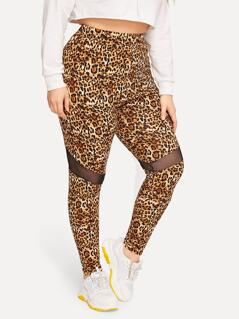 Plus Mesh Insert Leopard Leggings
