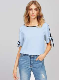 Contrast Binding Split Tie Sleeve Top
