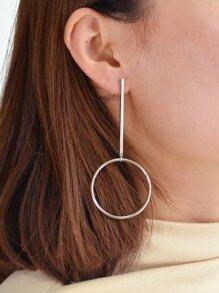 Silver Big Circle Pendant Long Earrings For Women