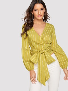 Surplice Neck Wrap Belted Striped Blouse