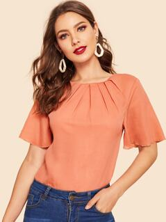 40s Pleated Front Flutter Sleeve Top
