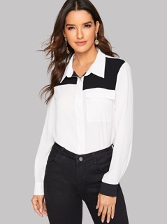 Flap Pocket Front Two Tone Shirt