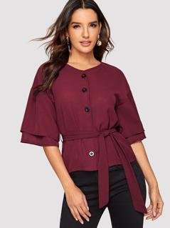 Button Front Tiered Sleeve Self Belted Top