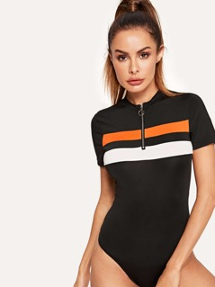 O-ring Zip Front Fitted Bodysuit