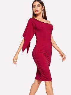 Slit Raglan Sleeve One Shoulder Bodycon Dress