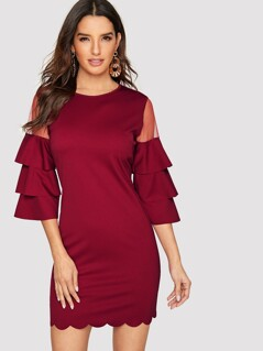 Mesh Insert Layered Sleeve Scallop Edge Dress