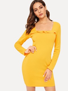 Ruffle Trim Form Fitted Dress