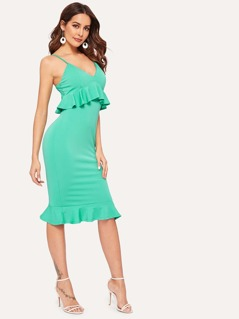 Ruffle Trim Cami Fitted Neon Dress