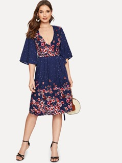 Surplice Neck Polka-dot and Floral Wrap Dress