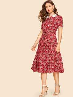 30s Guipure Lace Collar Fit & Flare Belted Botanical Dress