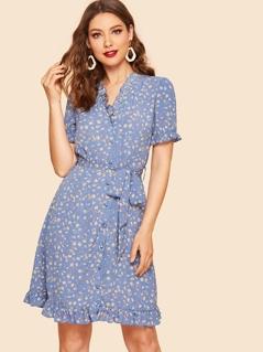 40s Ditsy Floral Frill Trim Belted Tea Dress