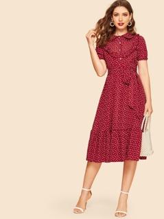 40s Ruffle Trim Heart Print Belted Shirt Dress
