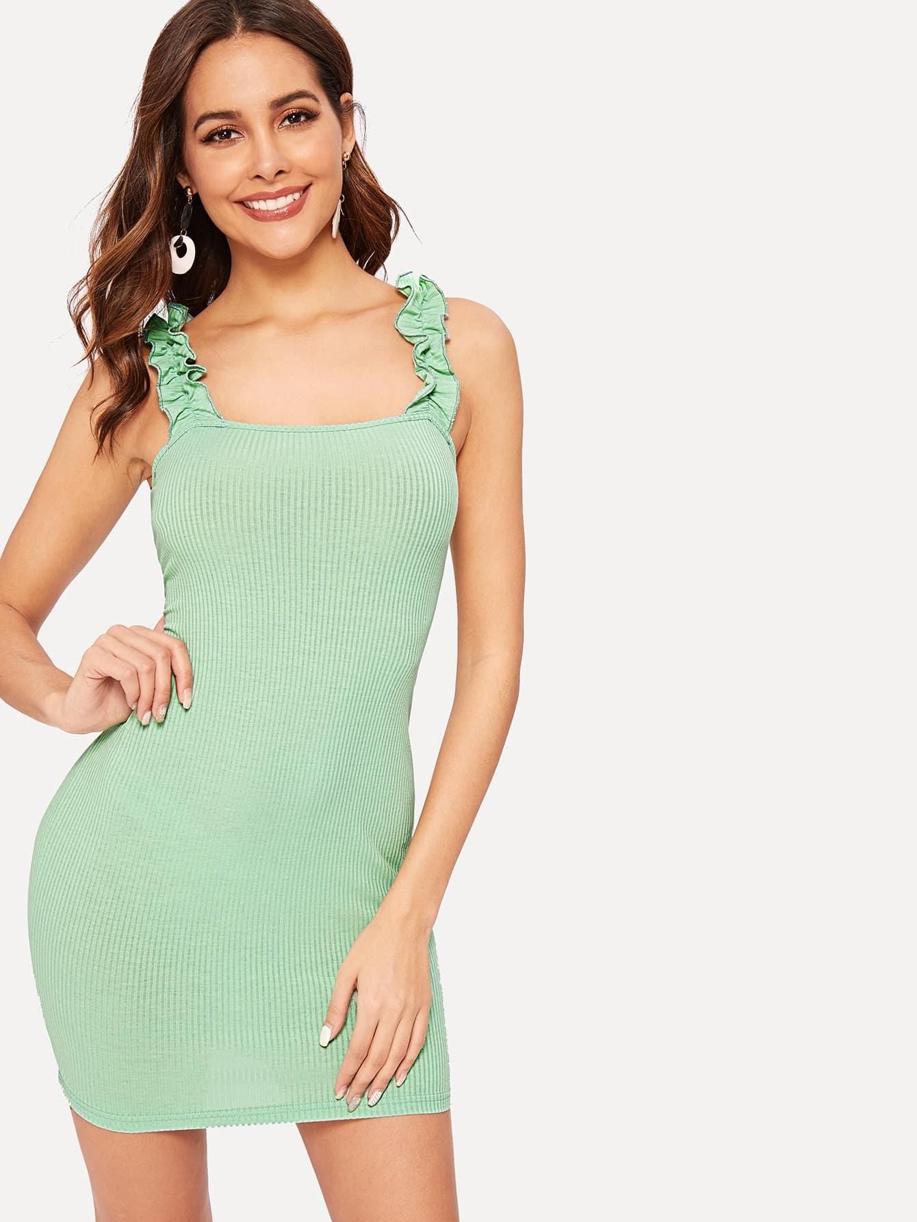 Купить Облегающее трикотажное платье на бретелях с оборками, Giulia, SheIn