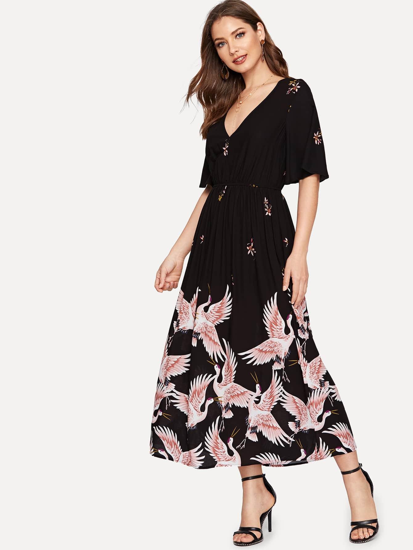 Купить Платье с принтом журавлей и оригинальным рукавом, Debi Cruz, SheIn