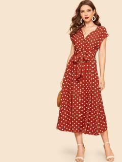 70s Self Tie Polka-dot Midi Dress