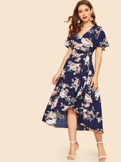 50s Self Belted Wrap Floral Dress
