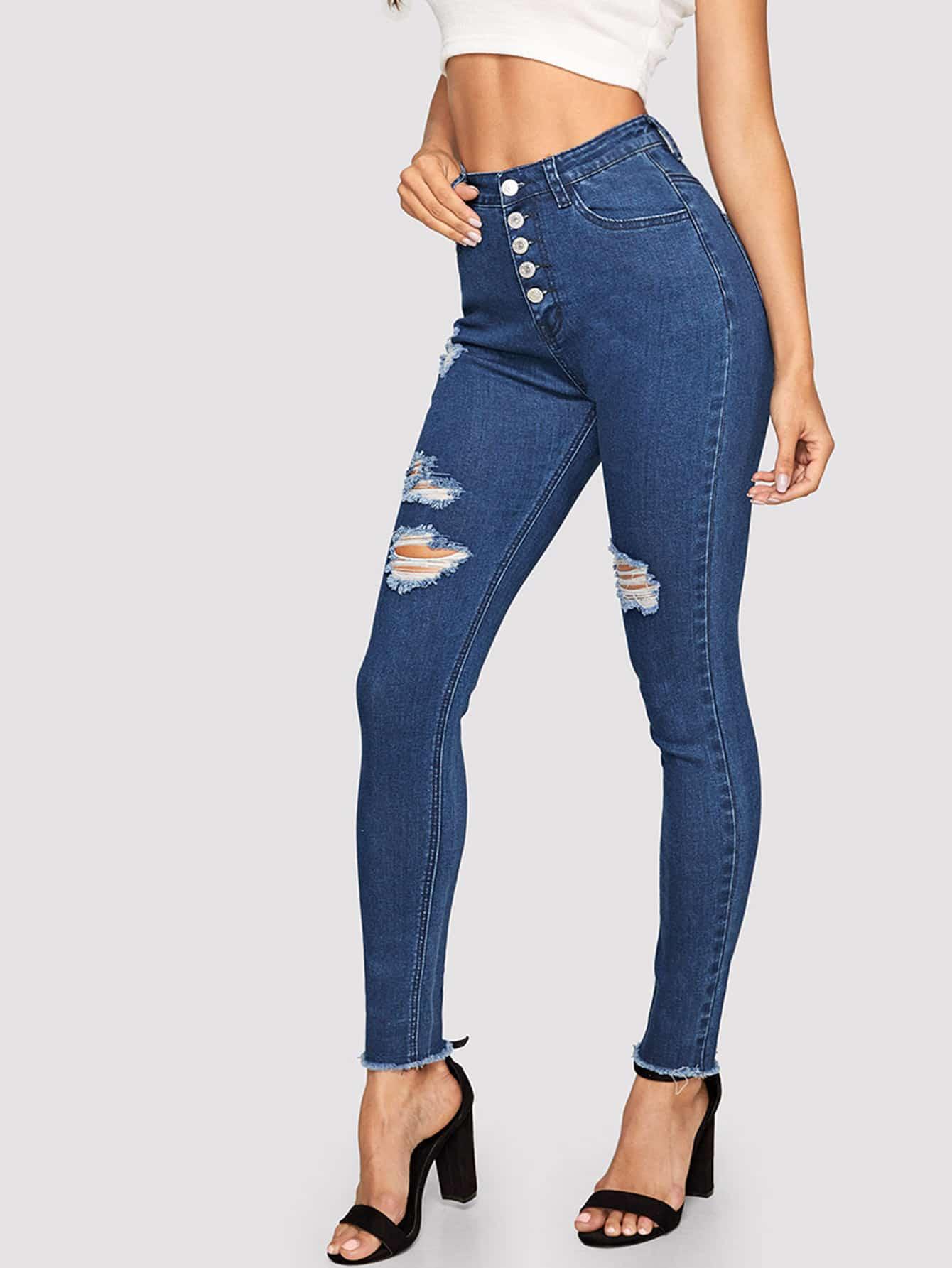 Купить Облегающие рваные джинсы с пуговицами, Juliana, SheIn