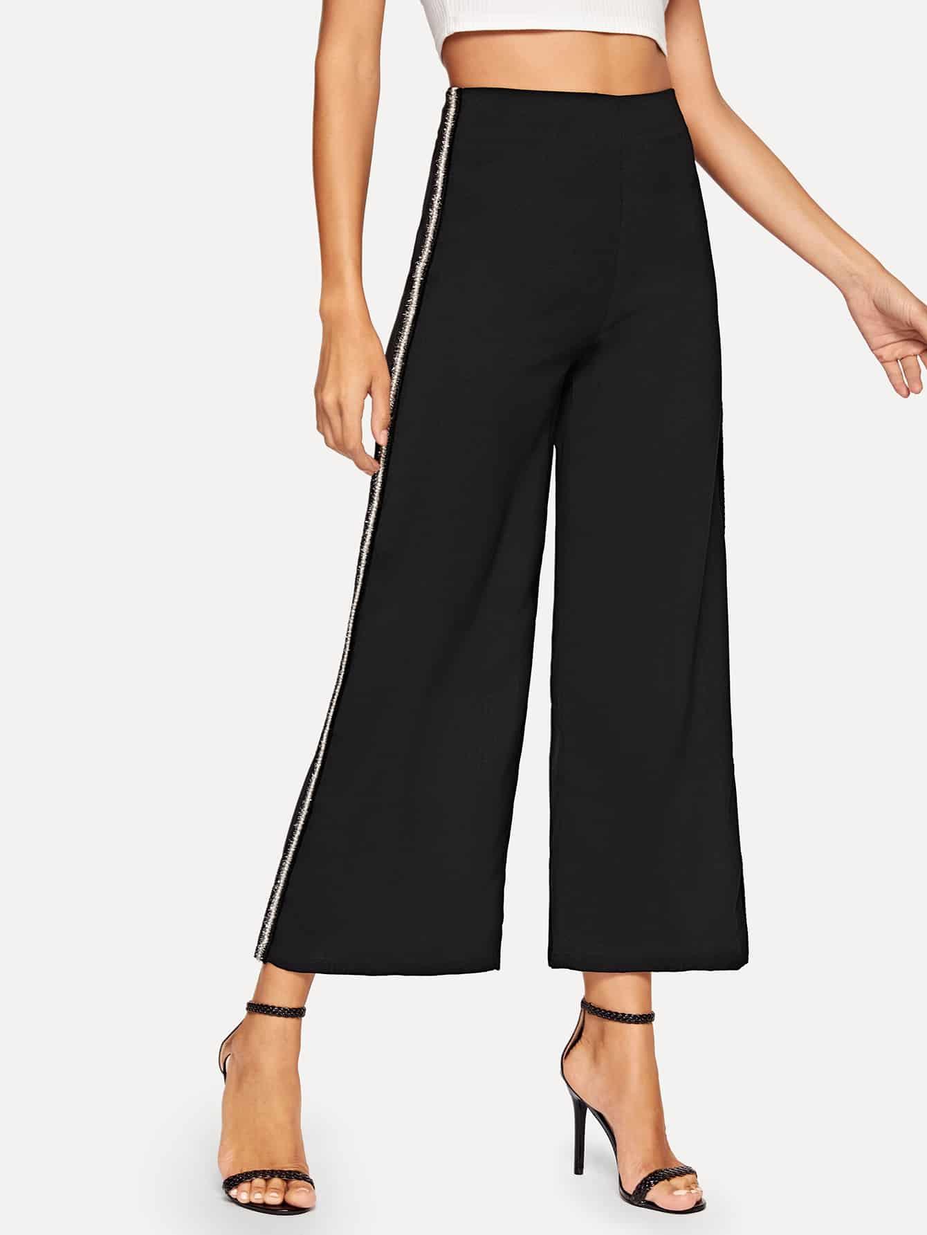 Купить Широкие брюки с контрастным бокам, Mary P., SheIn