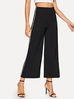 Contrast Fuzzy Tape Side Wide Leg Pants