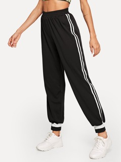 Striped Tape Side Tapered Pants
