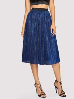 Contrast Waistband Pleated Skirt