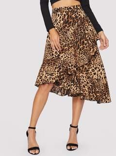 Asymmetrical Ruffle Hem Wrap Leopard Skirt