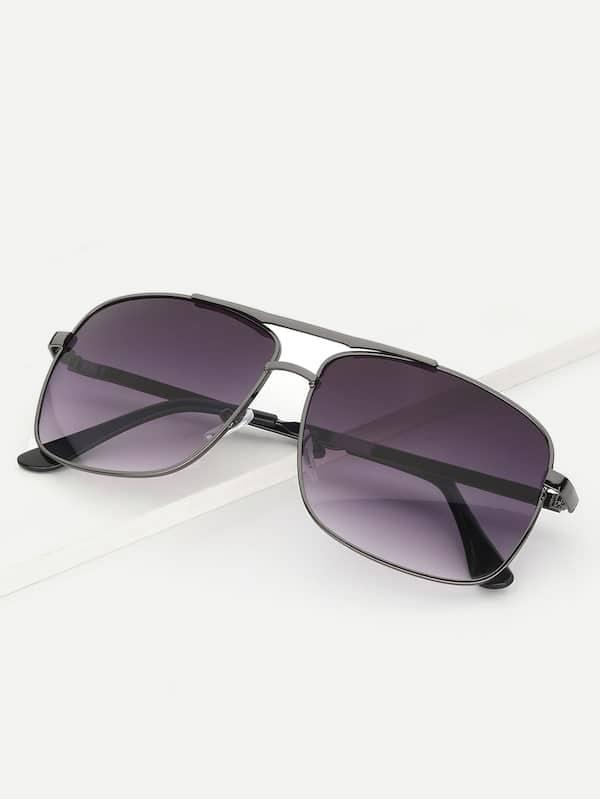 Купить Мужские солнцезащитные очки с цветными линзами и плоским верхом, null, SheIn