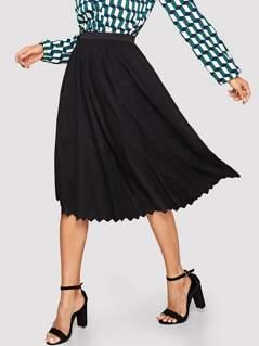 Chevron Hem Solid Flare Skirt