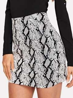 Snakeskin Print Bodycon Skirt