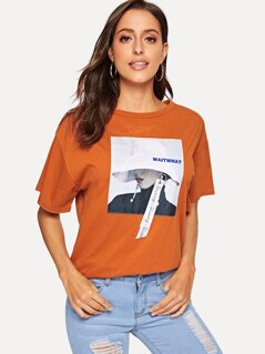 Figure Print With Letter Ribbon Detail Tee