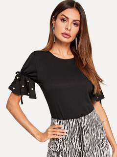 Knot and Pearl Detail Flounce Sleeve Tee