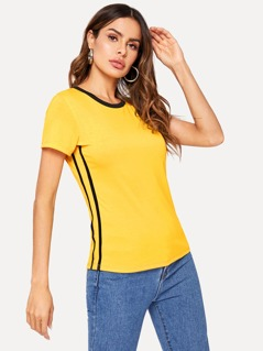 Striped Tape Side Top