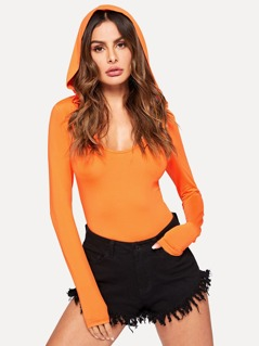 Neon Orange Form Fitted Hooded Tee