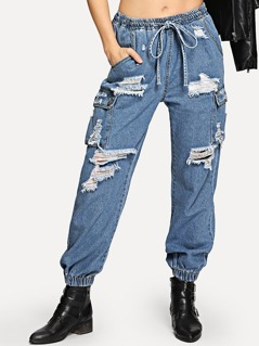 Pocket Patched Distressed Elastic Jeans